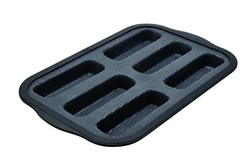 Zenker 685535 Moule à financiers par 6 en silicone fibre de verre, moule pour mini cakes, moule à 6 financiers, Silicone fibre de verre, Gris, 26,2 x 22 x 3,1 cm