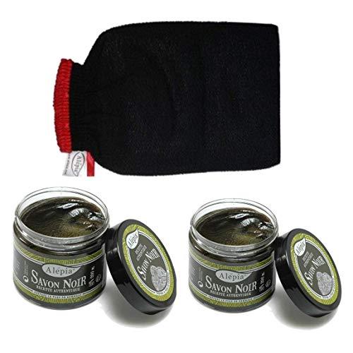 Savon noir pure huile d'olive Gommage au savon noir 100% naturel IDÉAL POUR PEAUX SENSIBLES + Gant Kessa OFFERT RECOMMANDE PAR COSMETIC-OBS 2018 LOT DE 3 PRODUITS MADE IN FRANCE