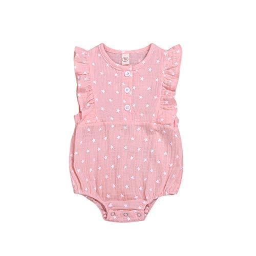 Janly Clearance Sale Mameluco para niñas de 0 a 24 meses, recién nacidos, ropa para bebés de 4 de julio, estampado de estrellas, para bebés de 12 a 18 meses, regalos de Pascua de San Patricio (rosa)