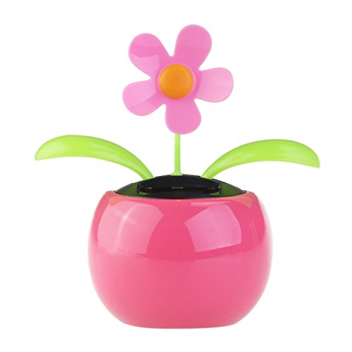 Tinksky Dacing Solar Flower Car Decor Solar Powered Happy Dancing Flower in the Pot Office Desk Display (Pink)