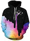 HelloTem Unisex 3D Galaxy Printed Sweatshirt Men's Pullover Big Pockets Hooded Hoodies