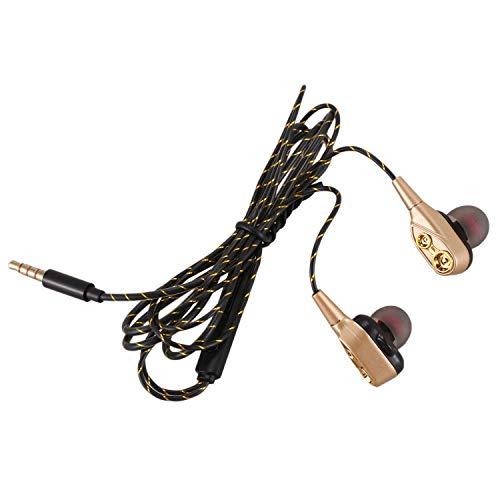 Tuneway 3.5mm HiFi Auriculares con Cable Auriculares intrauditivos Altavoz de Cuatro nucleos Dual- dinamico Antideslizante de Cable Flexible con microfono HD (Oro)