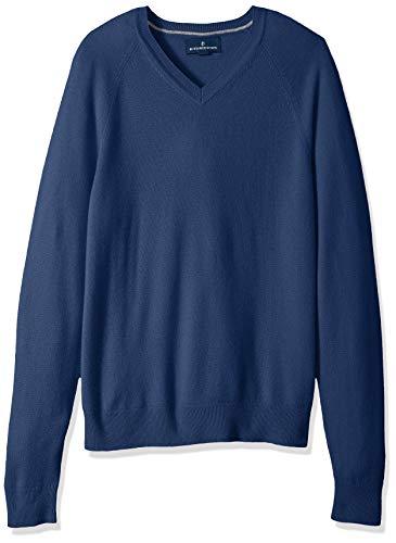 Amazon Brand - Buttoned Down Men's 100% Premium Cashmere V-Neck Sweater, Blue, Small