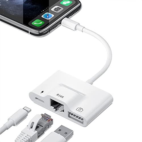 有線lanアダプター for i-Phone RJ45 変換 lightn-ing to イーサネット 接続 3in1 ネットワーク アダプタ 写真/ビデオ転送 海外旅行 コンパクト USBカメラ アダプタ USBカメラリーダー Phone12/12 Pro/11/11 Pro/11 Pro Max/X/XR/XS/XS/SE/8/8plusなど iOS14対応