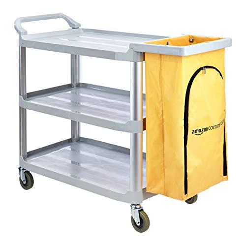 AmazonCommercial - Carrito de limpieza con bolsa con cremallera y 3 estantes