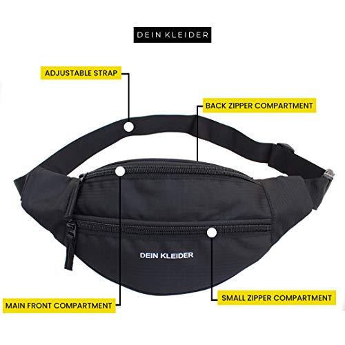 Dein Kleider Waist Pack Travel Handy Hiking Zip Pouch Document Money Phone Belt Sport Bag Bum Bag for Men and Women Nylon (Black)