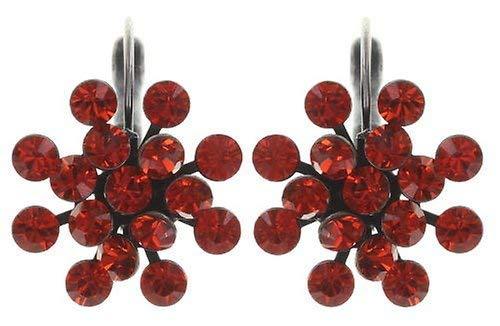 KONPLOTT Magic Fireball Classic Ohrhänger für Damen | Exklusive Designer-Ohrringe mit 32 Swarovski Steinen | Glamouröser Ohrschmuck passend zu jedem Anlass | Handgefertigter Damen-Schmuck | Orange