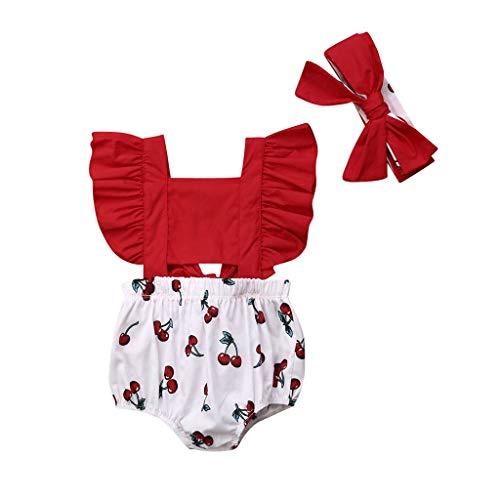 jerferr Neugeborenes Baby Mädchen Fliegen Ärmel Gedruckt Rüsche Strampler Overall + Stirnbänder Outfits