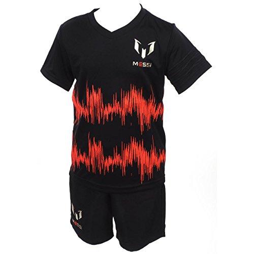 adidas Kinder Trainingsanzug I MM Messi Set, Schwarz/Orange/Silber, 80