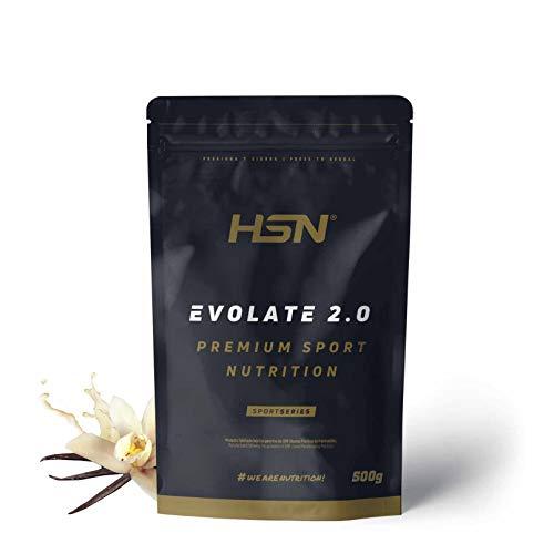 Aislado de Proteína de Suero de HSN Evolate 2.0 | Whey Protein Isolate | Proteína CFM + Enzimas Digestivas (Digezyme) + Ganar Masa Muscular | Vegetariana, Sin Gluten, Sin Soja, Vainilla, 500g