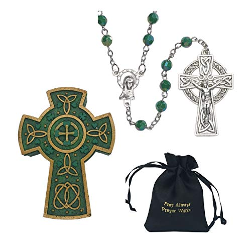 Holly Lines Irish Rosary Celtic Cross Jewelry Box Satin Bag and St. Patrick Card, Celtic Cross Catholic Rosary with 6 mm Emerald Acrylic Beads Celtic Cross Keepsake Box Black Satin Pouch and Holy Card
