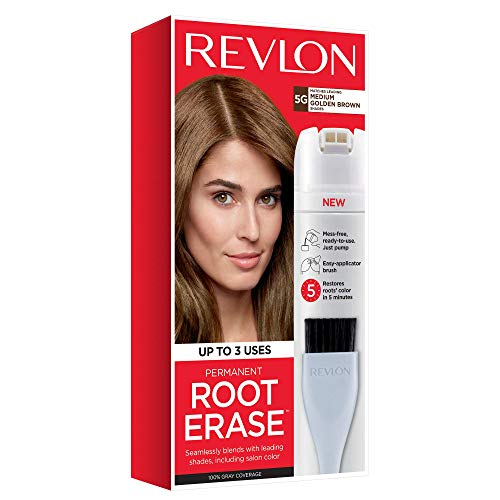 Revlon Root Erase Permanent Hair Color, At-Home Root Touchup Hair Dye with Applicator Brush for Multiple Use, 100% Gray Coverage, Medium Golden Brown (5G), 3.2 oz