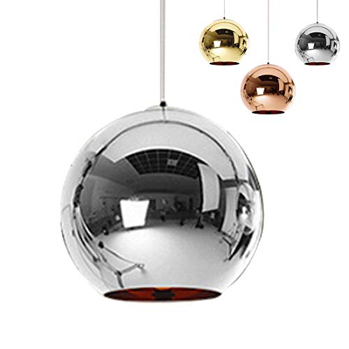 Industrial espejo moderno bola colgante Lámpara de cristal, espejo ajustable bola colgante Ligh, cortina de lámpara de techo para cocina, comedor, Bar (Astilla, 25cm)