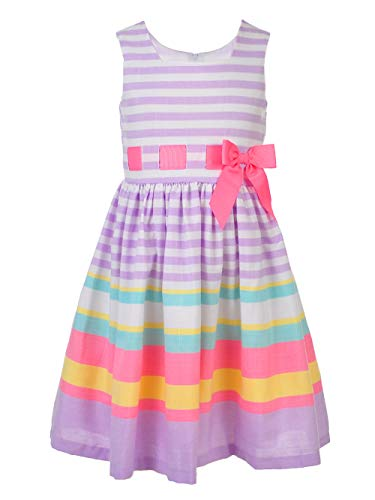 Bonnie Jean Little Girls Girls 2T - 16 Lavender Multi Stripe Linen Fit-and-Flare Party Dress, 12