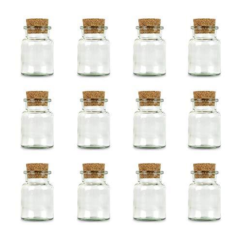 Ankerkraut leeres Korkenglas, klein, 12 leere kleine Korkengläser, zum Abfüllen von Gewürzen, Kräutern oder Bonbons, großartiges Gastgeschenk, 150ml