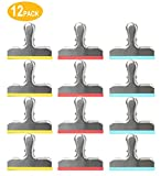 Lachi - Juego de 12 clips para bolsas de alimentos de acero inoxidable para bolsas de aire hermético para casa, cocina, oficina, escuela, color Rojo + amarillo + azul 12PCS