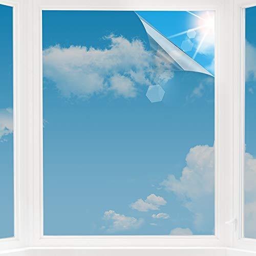 d.Stil Sonnenschutzfolie Fensterfolie selbsthaftend Sichtschutzfolie 99% Anti-UV Spiegelfolie Statische Wärmeisolierung Silber (60X200CM)