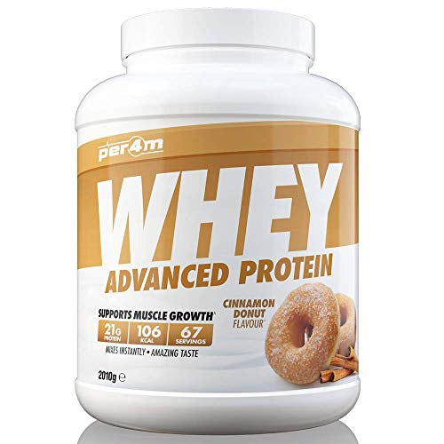 per4m Whey Advanced Protein Powder, 67 Servings of Delicious Muscle Building Protein, Cinnamon Donut, 2010g