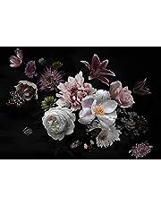 wandmotiv24 Fotobehang Bloemen wit roze L 300 x 210 cm - 6 delen Fotobehang, muurschildering, motiefbehang, vliesbehang Bloemen planten Bloemen planten M5869