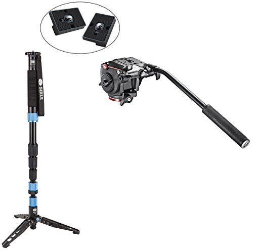 Sirui SUP204SR Photo/Video Monopod with Manfrotto XPRO Fluid Head with Fluidity Selector Plus Two Bonus Replacement Quick Release Plates for the RC2 Rapid Connect Adapter