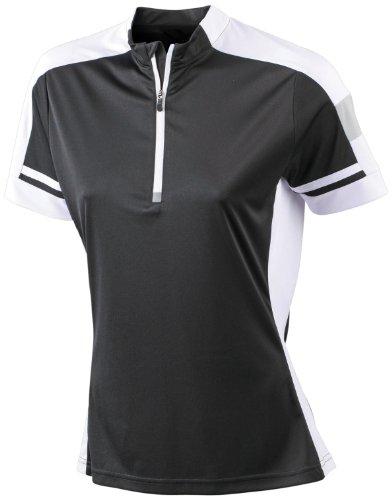 James & Nicholson Damen Sport T-Shirt Radtrikots Bike-T-Half Zip schwarz (black) Large