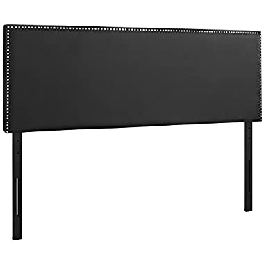 Modway Phoebe Faux Leather Queen Size Headboard With Nailhead Trim in Black