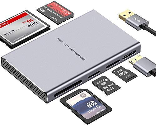 Lector de Tarjetas USB Súper Veloz, Lector de Tarjetas de Aluminio 5 en 1 USB 3.0 con Adaptador USB de Lectura Paralela para SD, CF, Micro SD, SDHC, SDXC, Micro SDHC, Micro SDHC, MS Pro, etc.