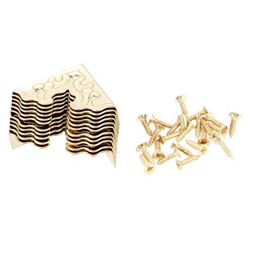 Dophee 10st 25mm vintage stijl metalen hoek decoratieve beschermer voor sieraden doos kast Goud