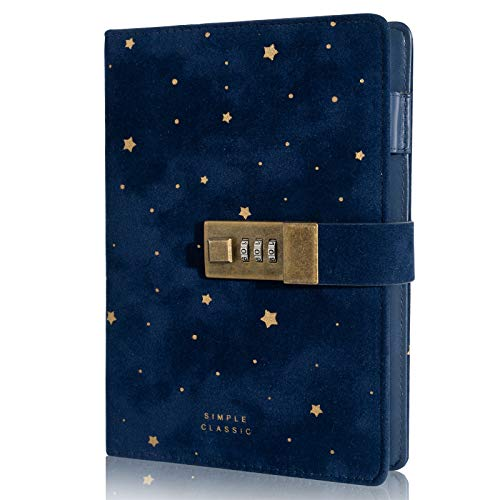 Lock Journal CAGIE Secret Refillable Diary,Corduroy-covered Locking Journal for Adults,Women Writing Personal Locked Diary Notebook Blue