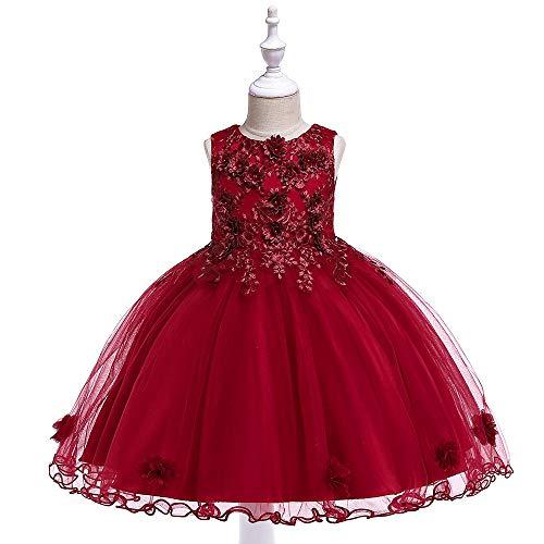 WTFYSYN Vestido de Encaje de Ropa para niños,Vestido de niñas, Vestido de Novia de Flores de Traje de Piano-Jujube Rojo_120 cm