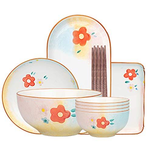 WGG Conjunto de Placa de Girasol Adecuado para Ensalada de Carne de bistec Dim Sum Soup Combinación de hogar para Uso Diario en hoteles, restaurantes y familias (envíe Palillos) (Color : 8 Piece Set)