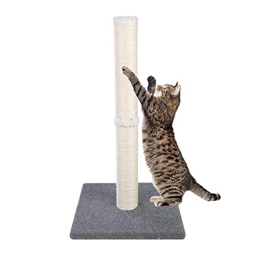 Dimaka 29' Tall Cat Scratching Post, Claw Scratching Sisal Post for Kittens and Cats,Vertical Scratch [Full Strectch] (Bluish Grey)