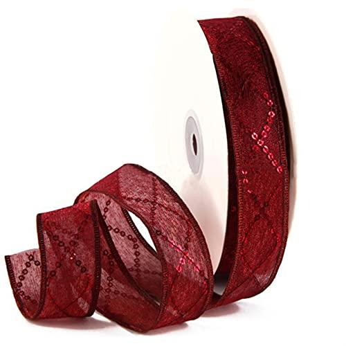 AJULING Rollo de Tul Rhombus Sequin Organza Ribbon Craft Ropa Accesorios Regalo Wrap Decoración Hilado Cintas (Color : Vino Rojo, Size : 25MM)