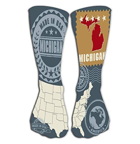 Calcetines altos para mujer de Novelty Funny, casuales, de algodón y crema, para regalar, 50 cm, diseño abstracto, juego de sellos de pósteres de nombre Michigan Uusa abstractos, nombre map Michigan