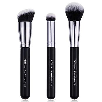 DUcare Makeup Kabuki Brushes 3Pcs Foundation Brush& Concealer Brush& Blusher Brush Face Blush Bronzer Travel Buffing Stippling Contour Liquid Blending Makeup brush set Black