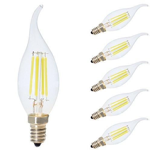 Bombilla LED E14 Vela Blanco Frio 6500K,4W equivalente a 30W,300 lúmenes, no regulable -5 unidades