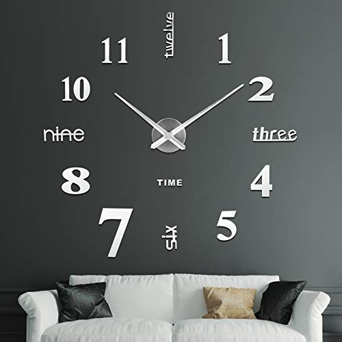 SOLEDI Wall Clocks for Living Room Modern, Large Wall Clocks for Home and Office Silent DIY Frameless Wall Clock (Silver)