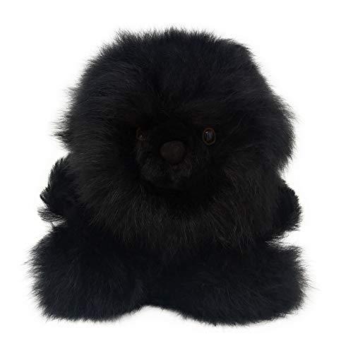 Baby Alpaca Fur Sitting Chubby Bear - Hand Made 5+ Inch Black Coal - Each Bear is Unique