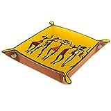 rodde Bandeja de Valet Cuero para Hombres - Mujer Bailando en Estilo étnico Tradicional - Caja de Almacenamiento Escritorio o Aparador Organizador, Captura para Llaves,Teléfono,Billetera