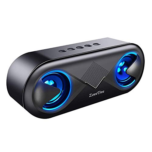 ZoeeTree S8 Altavoz Portatil Bluetooth, Bluetooth 5.0, 24 Horas, Luces LED Decoracion 10W HD y Altavoz para movil, Altavoces Coche, Llamadas Manos Libres, 3.5mm AUX/Ranura para Tarjetas TF