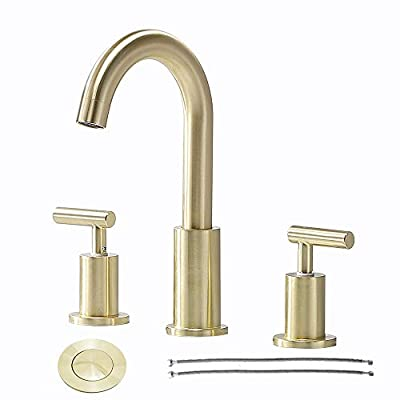 Comllen 2 Handle 3 Hole Brushed Gold 8 Inch Lavatory Widespread Bathroom Faucet, Best Commercial Laundry Basin Vanity Bathroom Sink Faucet with Pop Up Drain and Water Supply Lines