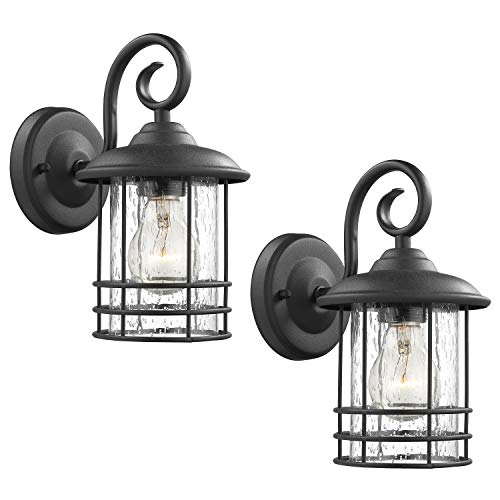 Emliviar 1-Light Outdoor Wall Lantern 2 Pack, Exterior Wall Lamp Light in Black Finish with Clear Seeded Glass -Twin Pack, OS-1803CW1