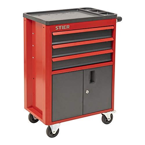 STIER Werkstatt- und Schrankwagen, unbestückt, mit 3 Schubladen, abschließbar, je 2 Lenk- & Bockrollen vormontiert
