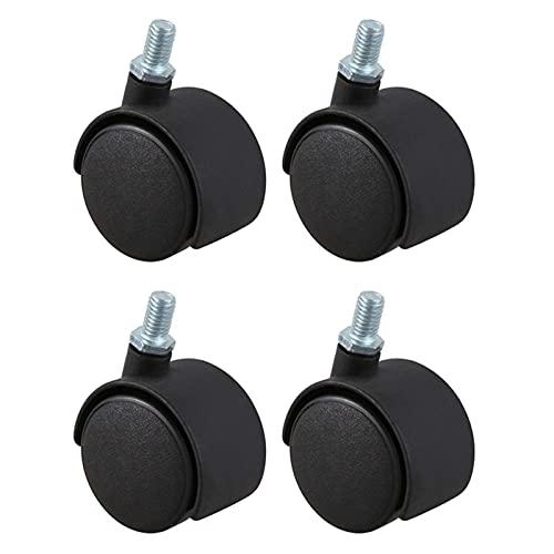 Kit de ruedas Rueda giratoria Vástago de tornillo de 8 mm Rueda de 1,5 pulgadas diámetro 4 piezas Varilla de inserción negra Tornillo Conector de vástago roscado Plástico Nylon Ruedas para muebles