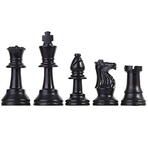 Fishlor Juego de Piezas de ajedrez, Juego de Piezas de ajedrez de plástico Juego de ajedrez Internacional Juego de Piezas de ajedrez Completo en Blanco y Negro(#2)