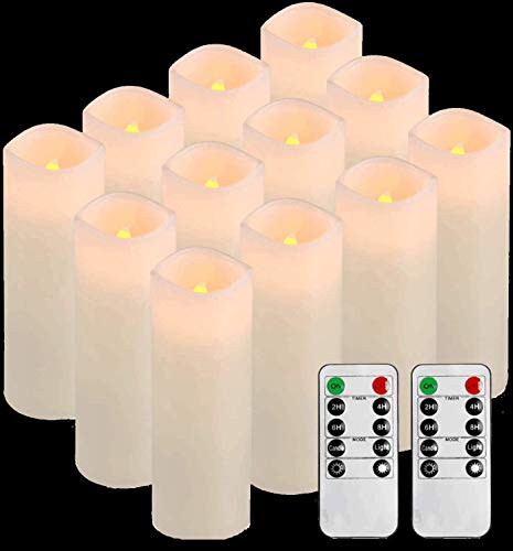 Comenzar Flameless Candles, Battery Candles Battery Operated Candles Real Wax Pillar Candles Set of 12D2.1 x H6 led Candles with Remote Timer