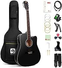 Vangoa Acoustic Electric Guitar, 41 Inch Full Size Dreadnought Acoustic-electric Cutaway Guitar Folk Beginner Kit, Black
