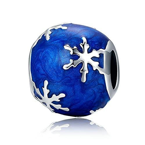 LIIHVYI Pandora Charms para Mujeres Cuentas Plata De Ley 925 Sonw Azul Compatible con Pulseras Europeos Collars