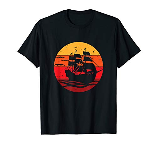 Vintage Retro Pirate Ship And Sailboat Of the Pacific Ocean T-Shirt