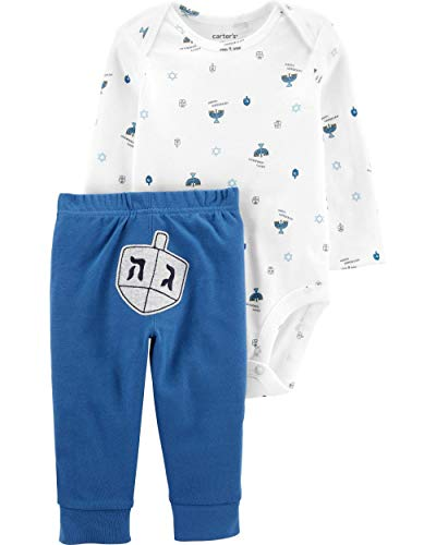 Carter's Baby 2 Piece Long Sleeve Hanukkah Bodysuit and Pants Set (24 Months, Ivory/Blue)